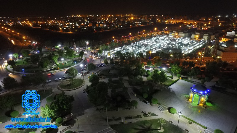 نمايي از عاليشهر در شب- يادمان شهداي گمنام و ورودي شهر